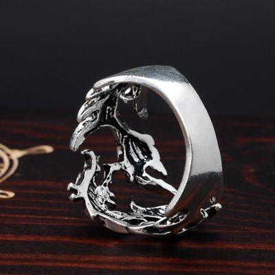 3D Edelstahl Ring Drache Silber - 3