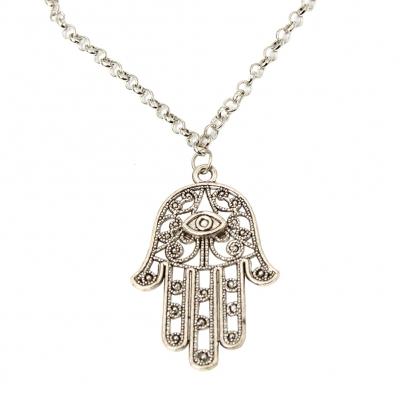 Halskette mit Hand Anhänger Hand of Fatima Hamsa - 1