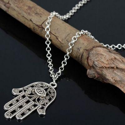 Halskette mit Hand Anhänger Hand of Fatima Hamsa - 3
