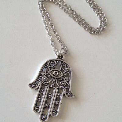 Halskette mit Hand Anhänger Hand of Fatima Hamsa - 4