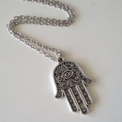 Halskette mit Hand Anhänger Hand of Fatima Hamsa - 5