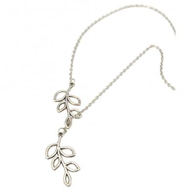 Halskette mit Blätter Anhänger Silber - 1