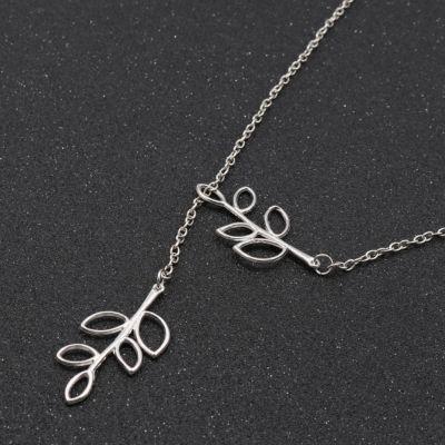 Halskette mit Blätter Anhänger Silber - 2