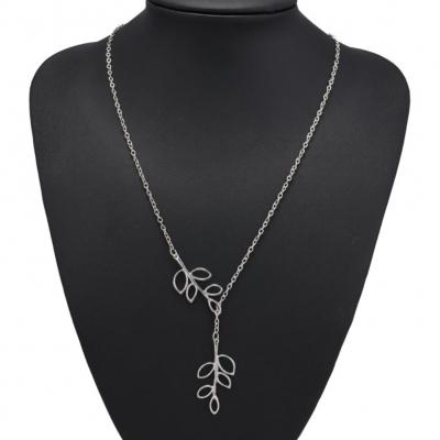 Halskette mit Blätter Anhänger Silber - 3