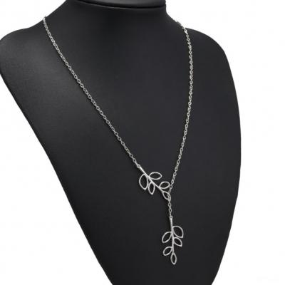 Halskette mit Blätter Anhänger Silber - 4