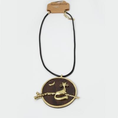 Halskette Sandelholz mit Katze Anhänger Handarbeit - 1