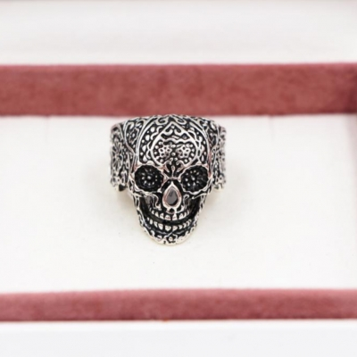 3D Edelstahl Ring Totenkopf Skull Silber - 1