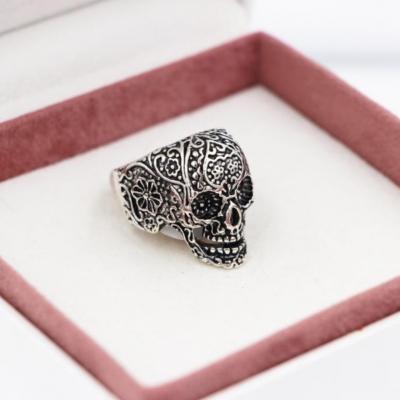 3D Edelstahl Ring Totenkopf Skull Silber - 2
