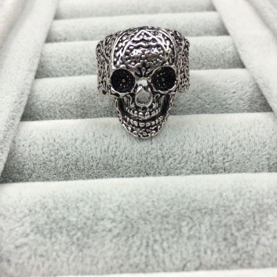 3D Edelstahl Ring Totenkopf Skull Silber - 4