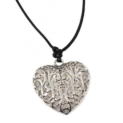 Halskette mit Herz Anhänger Handarbeit Mehndi Vintage - 1
