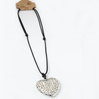Halskette mit Herz Anhänger Handarbeit Mehndi Vintage - 3