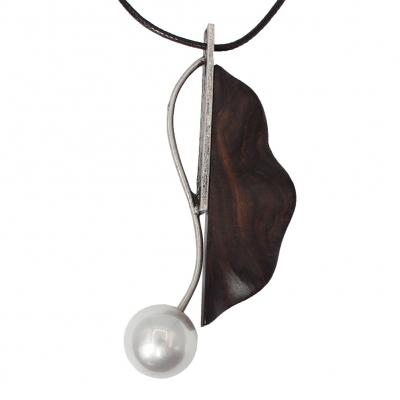 Halskette Sandelholz mit Blumen Perle Anhänger Handarbeit - 1