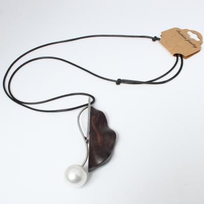 Halskette Sandelholz mit Blumen Perle Anhänger Handarbeit - 4