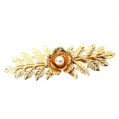 Metal Haarklammer Blüte mit Perle in der Farbe Gold - 1