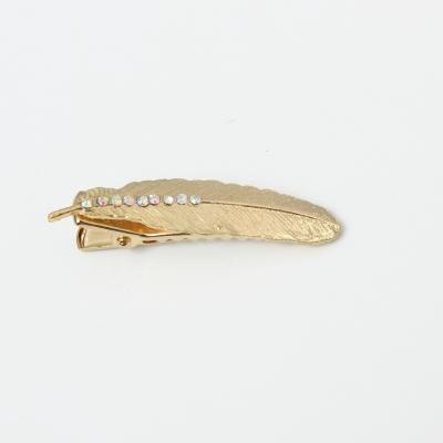 Metal Haarklammer Feder mit Strass in der Farbe Gold - 3