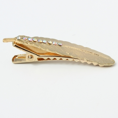 Metal Haarklammer Feder mit Strass in der Farbe Gold - 4