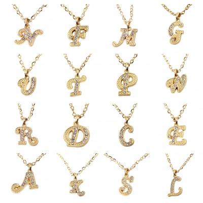 Halskette mit Strass Buchstaben Anhänger Buchstabe K - 1