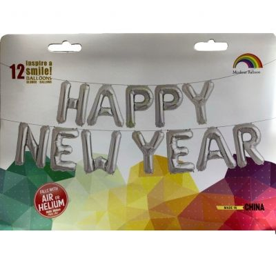 12 tlg Happy New Year Buchstaben Luftballon Set 40CM Folienballon 2019 - 2