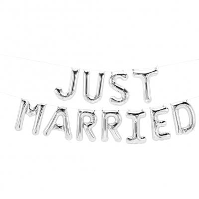11 tlg Just Married Buchstaben Luftballon Set 40CM Folienballon Hochzeit Deko Silber - 1
