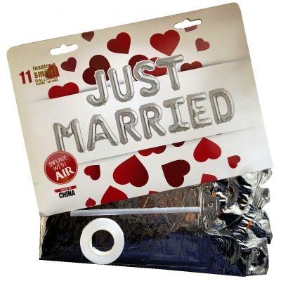 11 tlg Just Married Buchstaben Luftballon Set 40CM Folienballon Hochzeit Deko Silber - 2