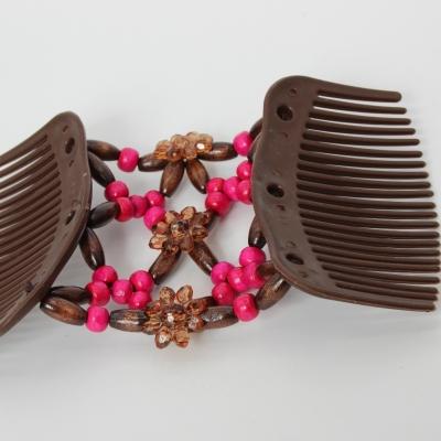 Trend African Hairclip Haarklammer mit Blume Pink - 3