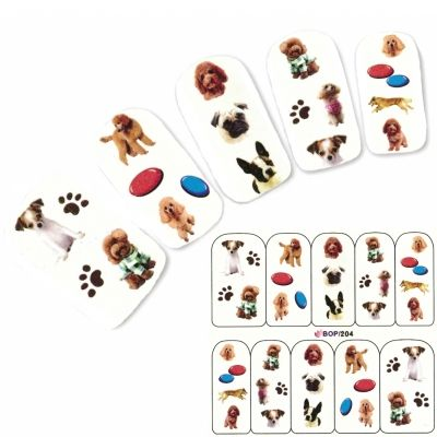 Tattoo Nail Hund Pudel Aufkleber Nagel Sticker