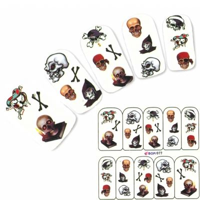 Tattoo Nail  Pirat Totenkopf Aufkleber Nagel Sticker