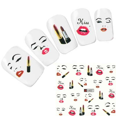 Tattoo Nail Art Lippenstift Kiss Nagel Sticker