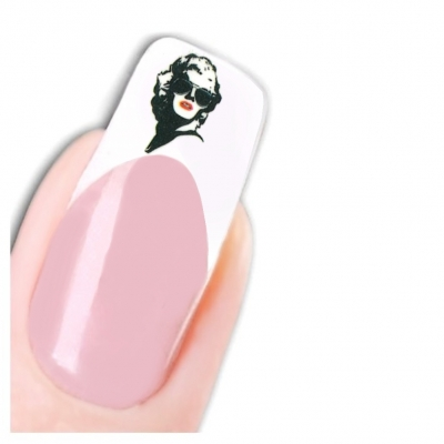 Tattoo Nail Art Marilyn Monroe Retro Brille Nagel Sticker - 1