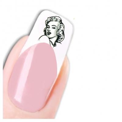 Tattoo Nail Art Marilyn Monroe Schwarz Weiß 1950 er Nagel Sticker - 1