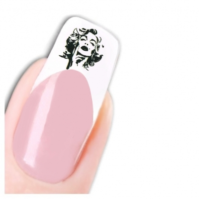 Tattoo Nail Art Marilyn Monroe Schwarz Weiß 1950 er Nagel Sticker - 1