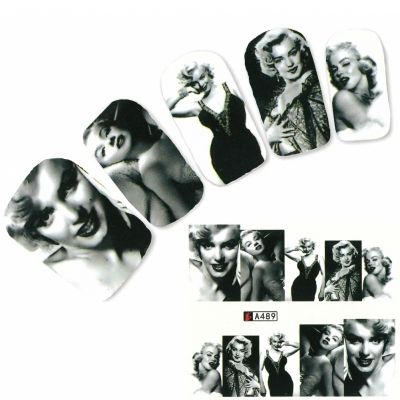 Tattoo Nail Art Marilyn Monroe Bild Weltstars der 1950 er Nagel Sticker - 0
