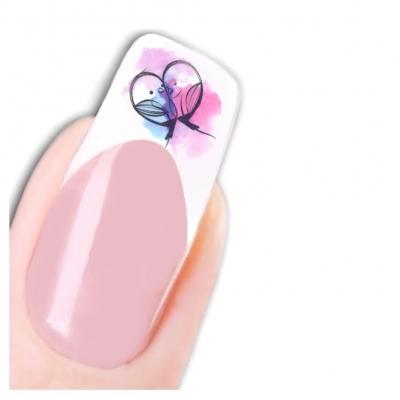 Tattoo Nail Art Vogel Herz Blume Nagel Sticker - 1