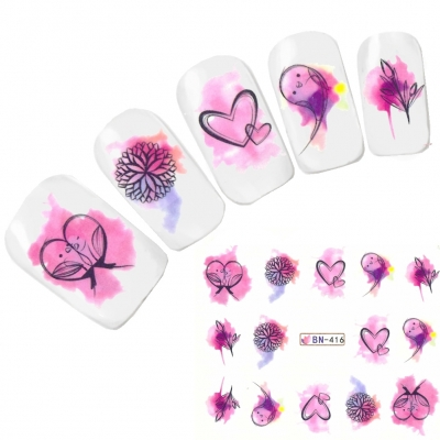 Tattoo Nail Art Vogel Herz Blume Nagel Sticker