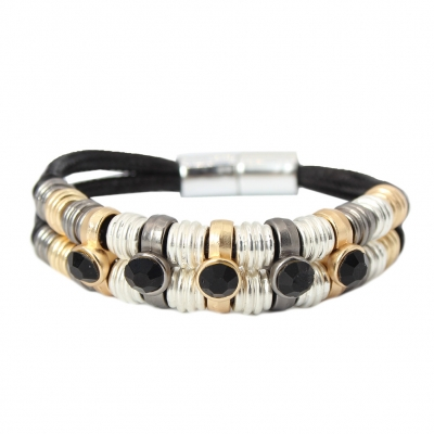 Luxus Armband Strass Design in der Farbe Schwarz mit Magnetverschluss - 1