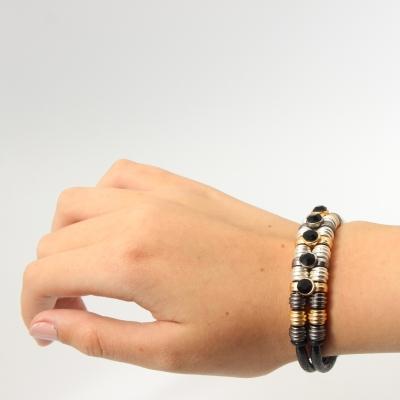 Luxus Armband Strass Design in der Farbe Schwarz mit Magnetverschluss - 2