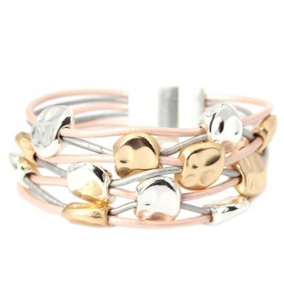 Luxus Armband mit Ornamenten Design Farbe Rose Gold Silber mit Magnetverschluss - 1