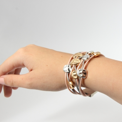 Luxus Armband mit Ornamenten Design Farbe Rose Gold Silber mit Magnetverschluss - 2