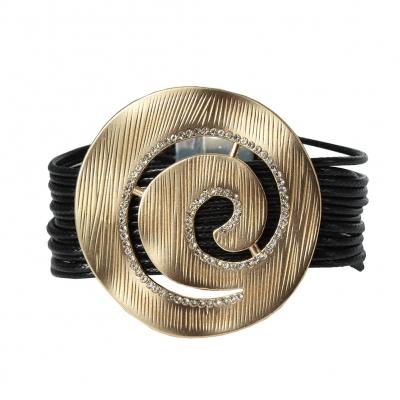 Luxus Armband Spiralen Design mit Strass Farbe Gold Schwarz mit Magnetverschluss - 1