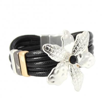 Luxus Armband Blumen Design mit Strass Farbe Silber Schwarz mit Magnetverschluss - 1