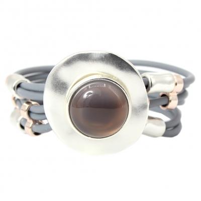 Luxus Armband mit großem rundem Stein Design Farbe Silber mit Magnetverschluss - 1