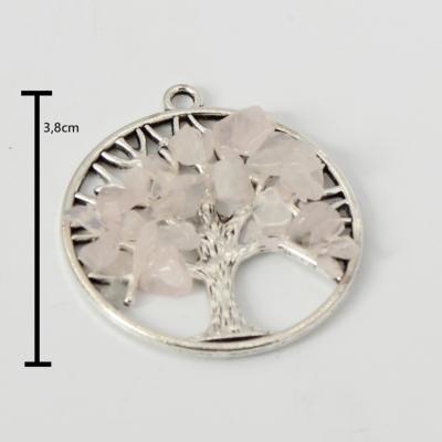 Energie Lebensbaum Anhänger für eine Halskette Rose Quartz - 1