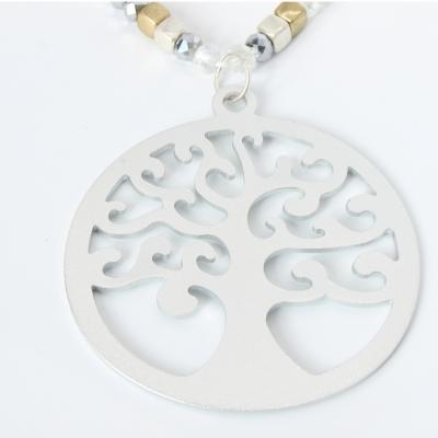 Halskette mit Lebensbaum Anhänger Handarbeit Mehndi Vintage Geschenkidee - 3