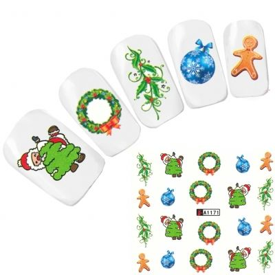Tattoo Nail Art Nikolaus Santa Weihnachten Advent Aufkleber Nagel Sticker