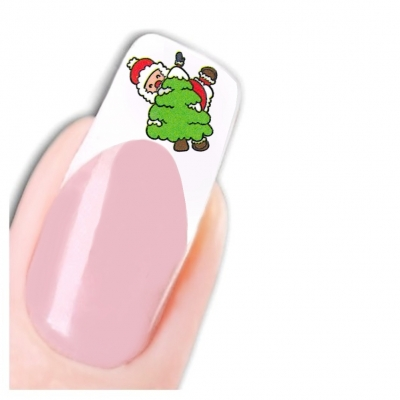 Tattoo Nail Art Nikolaus Santa Weihnachten Advent Aufkleber Nagel Sticker - 1