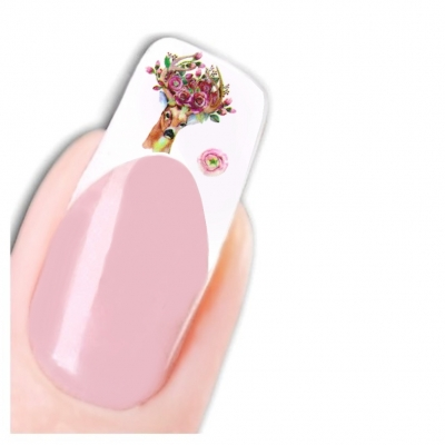 Tattoo Nail Art Aufkleber Hirsch Blume Deer Nagel Sticker - 1