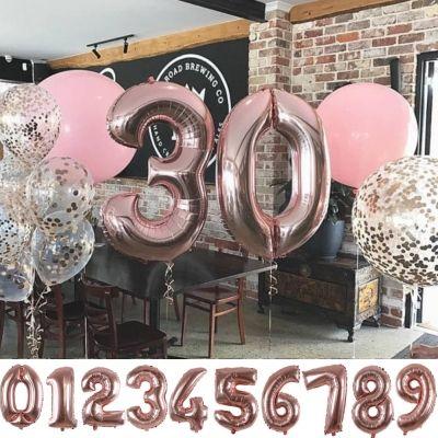 Zahl Luftballon XL 75CM Nummer Folienballon Rose 9 - 1