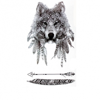 Temporäres Tattoo Wolf Design Temporary Klebetattoo Feder Körperkunst - 1