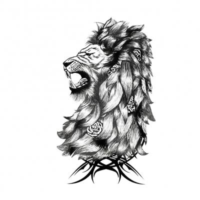 Temporäres Tattoo Löwe Rosen Design Temporary Klebetattoo Körperkunst - 1