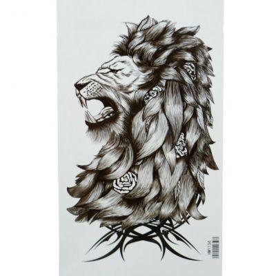 Temporäres Tattoo Löwe Rosen Design Temporary Klebetattoo Körperkunst - 2